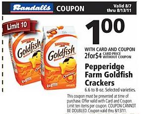 photo regarding Goldfish Printable Coupons identify Randalls/Safeway: 10 for $10 Goldfish + $5 off $15 Frozen