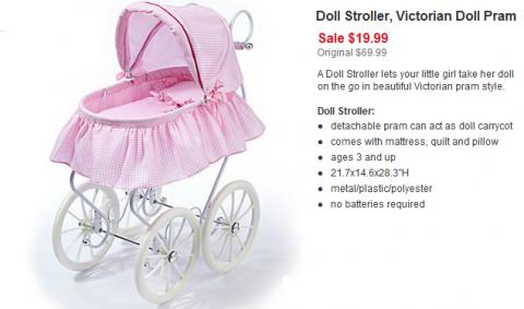 JC Penny: Victorian Pram Style Doll Stroller Only $15.99!