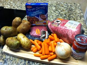 had a roast (well 2 for us) potatoes, carrots, onions, Lipton onion ...
