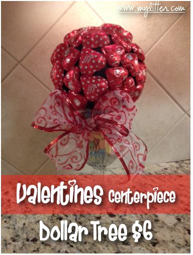 Frugal diy valentines day centerpiece from dollar tree