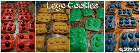 lego cookies in different colors