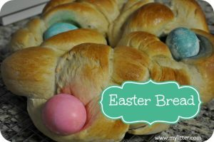 Easter Bread with eggs baked