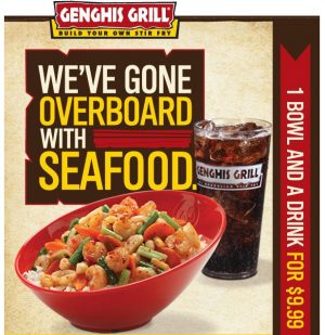 graphic regarding Genghis Grill Printable Coupon named Genghis Grill $9.99 for Bowl and Consume - MyLitter - One particular Package deal