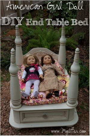 DIY american girl doll bed 2 end table