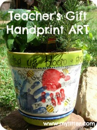 Handprint kids art teachers gift herb garden