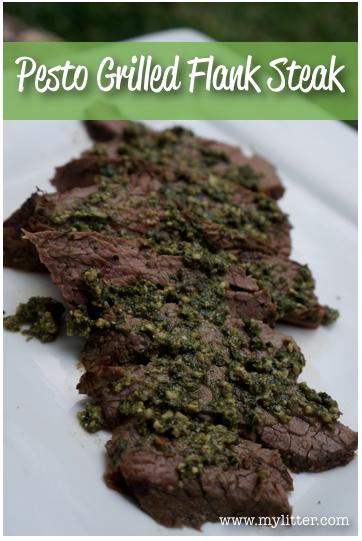 easy grilled flank steak pesto