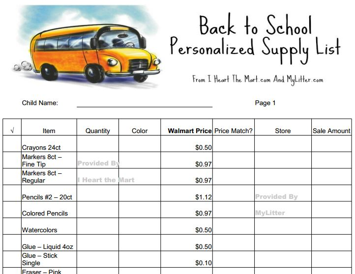 FREE Back to School Printable List