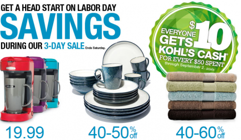 """Aug 22, · The Kohl's Labor Day Sale is officially kicking off on Thursday 8/30 and the brand will offer shoppers $10 off when they spend $25 or more online at ningbacvizel.ml All you need is the special promo code """" LABORDAY,"""" which you need to use at checkout to redeem your $10 off discount."""