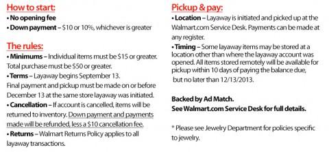 Walmart Layaway 2013