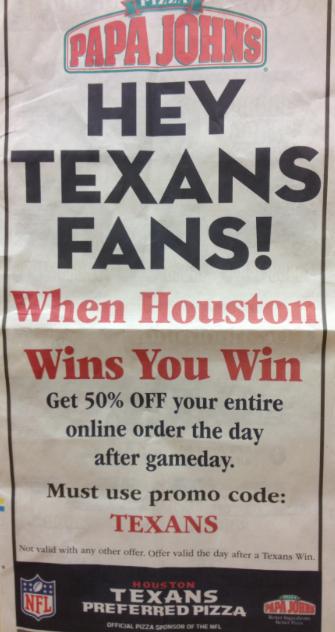 Papa Johns Texans Promo Code 50% off entire order ...