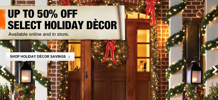 Home depot 50 off holiday decor free shipping for Home depot christmas decorations 2013