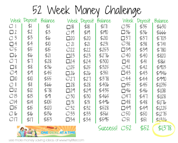 52 week money challenge savings plan mylitter one deal for 52 time table