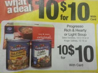 progresso soup deal at kroger