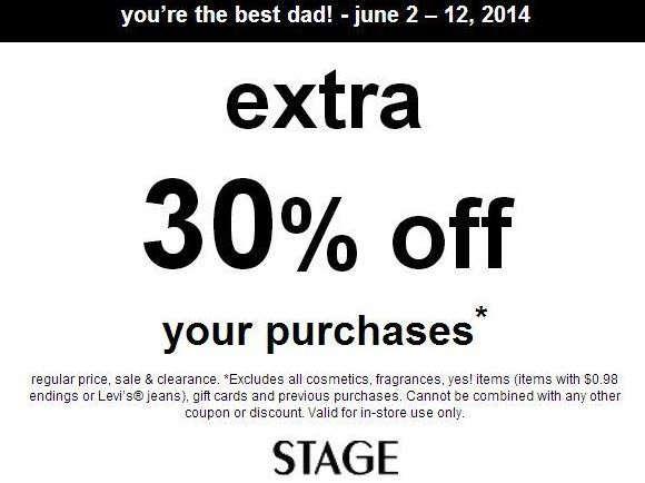 Printable  30% off at STAGE Stores  Think Father s Day  - MyLitter ... c998a274f