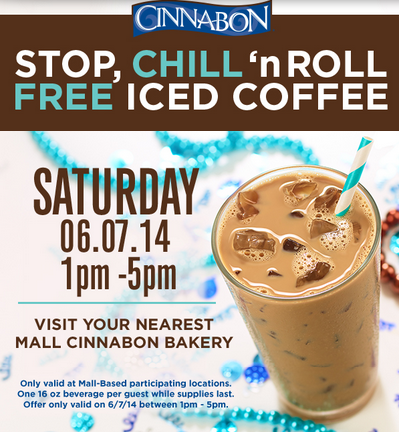free iced coffee from cinnabon