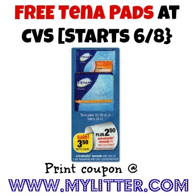 free tena pads at cvs
