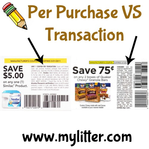 One coupon per purchase vs transaction
