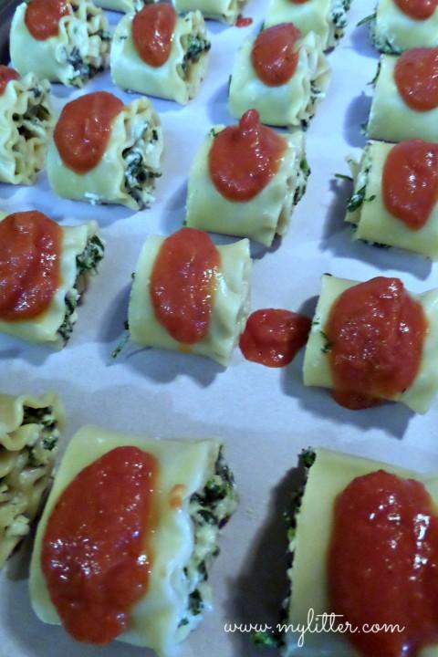 Spinach Lasagna Roll Prep
