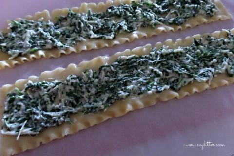Spinach Lasagna Rolls prep
