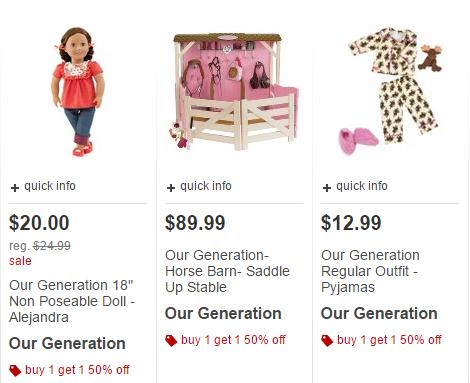 Target Black Friday Online: BOGO50% Our Generation (18