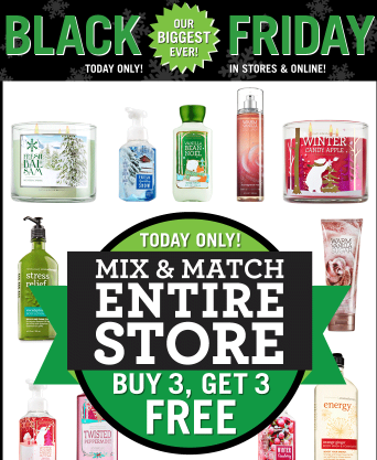 Bath Amp Body Works Black Friday Buy 3 Get 3 Free Coupon