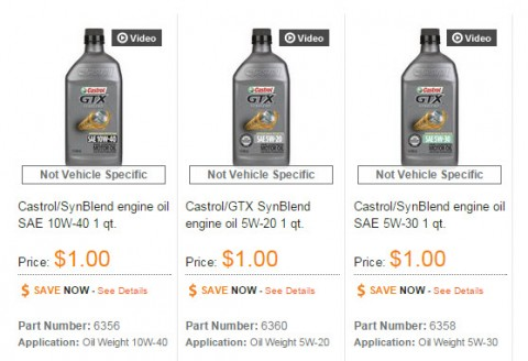 AutoZone com: Castrol GTX Synthetic Blend Motor Oil only