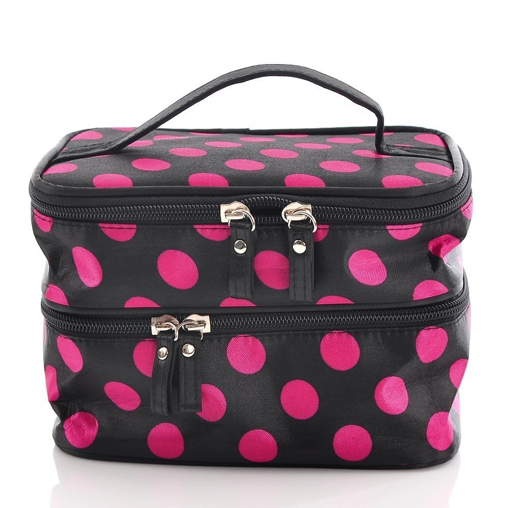 b6135a41b508 Amazon  Black and Pink Polka Dot Double Layer Cosmetic Bag  3.80 ...