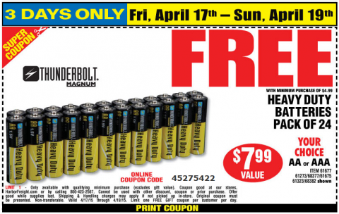 Last Day Free 24pk Batteries With Coupon At Harbor Freight