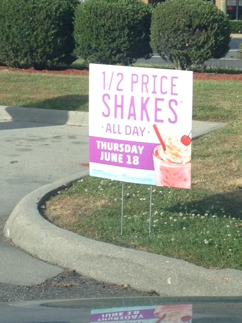 sonic half priced shakes june 18