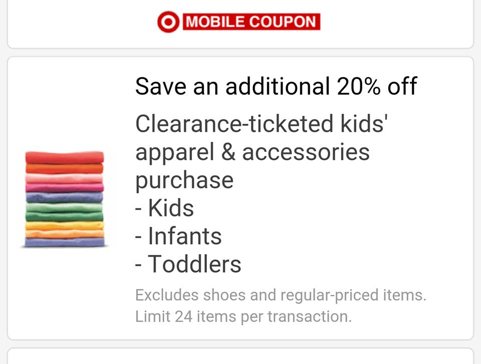 Apparel coupons for target