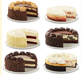 SPECIALTY CAKES & DESSERTS. You can also purchase an entire Cheesecake Factory cake too, with sizes available in 6 inches, 7 inches, and 10 inches. The first of these is the smallest with servings and costs between $$ depending on the flavor, representing one of the cheapest Cheesecake Factory cheesecake prices. Larger cakes.