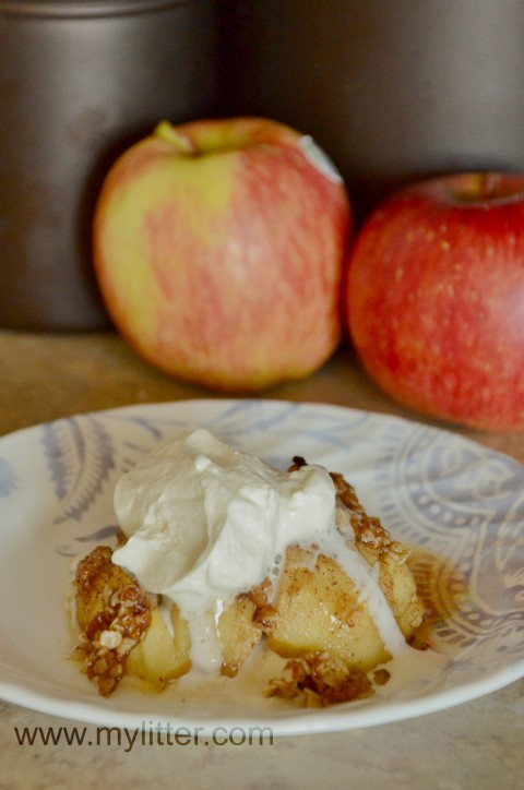 hasselback apple and whip cream