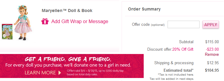 Coupon code american girl