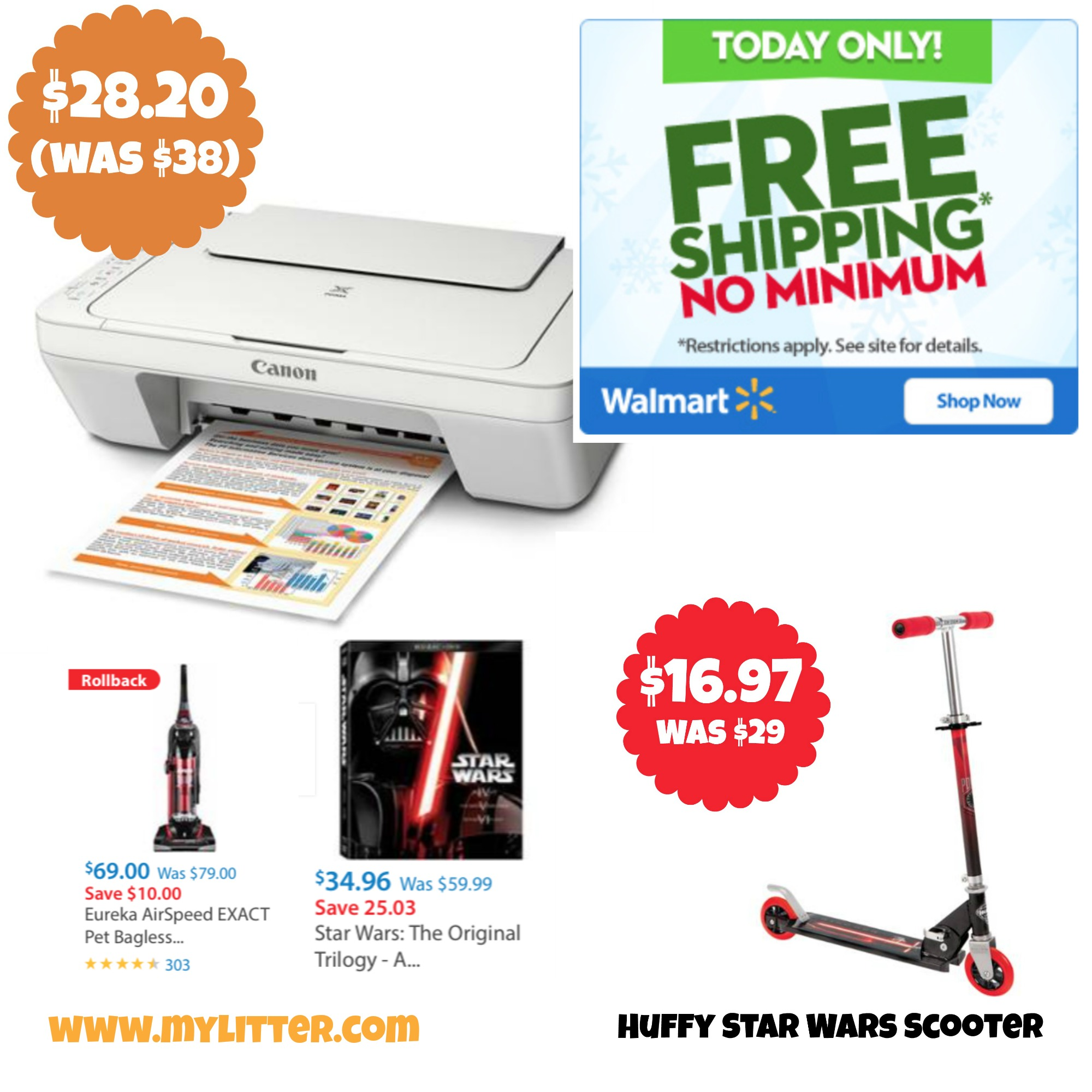 Walmart FREE Shipping all day! + Canon Printer only $28! - MyLitter ...