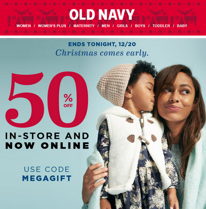 91b64bac6e 50% Off Coupon Code for Old Navy + FREE Holiday Shipping! - MyLitter ...