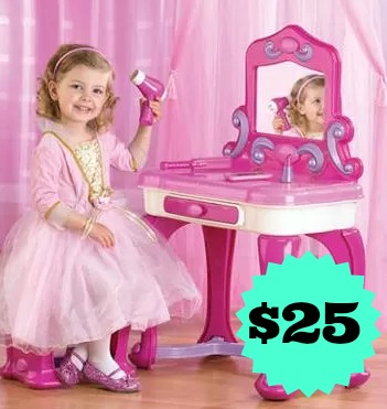b47fb77403 Start them out with this easier American Plastic Deluxe Vanity + 15pc  Accessory Set for just $25.00 right now at Walmart. This set you will need  to put ...