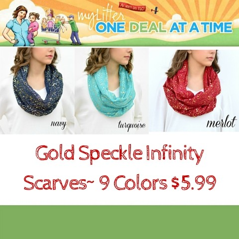 Gold Speckle Infinity Scarves- 9 Colors $5.99