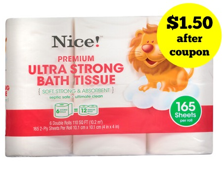 Nice! Toilet Paper 6pk Double Rolls only $1.50 at Walgreens