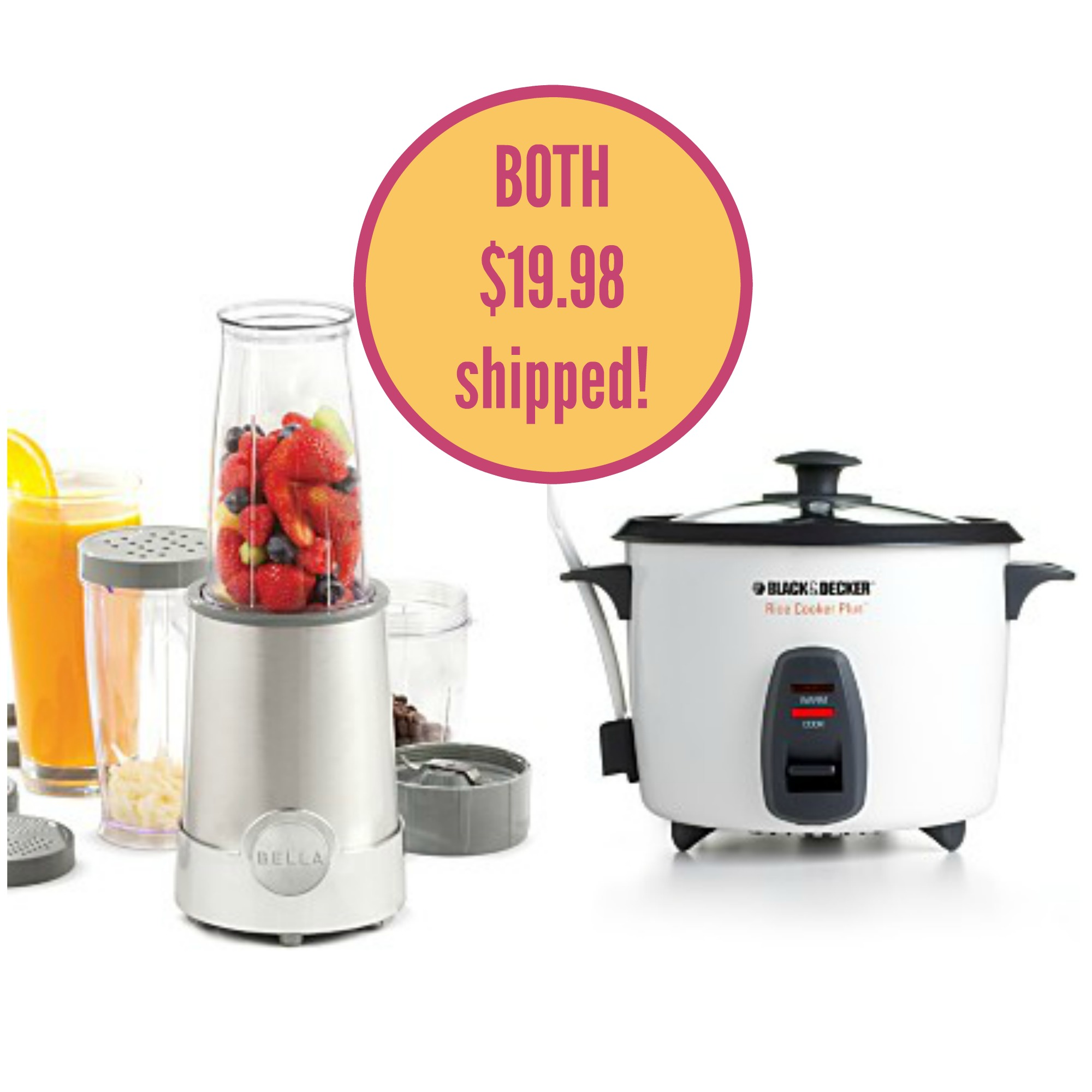 Bella Rocket Blender and Black & Decker Rice Cooker - $19.98 ...