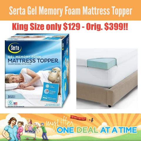 Kohl 39 s serta king size gel memory foam mattress topper 129 shipped mylitter one deal at a Memory foam mattress king size sale