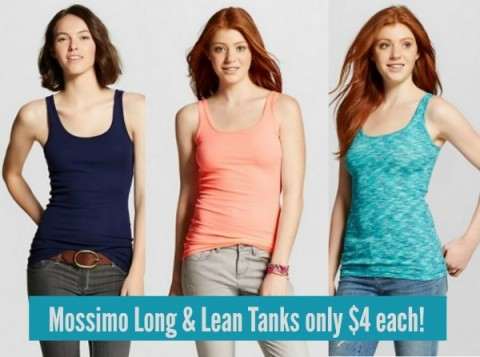 2450f124f54e80 Right now you can score a sweet deal on Mossimo Women s Long   Lean Tanks  at Target both in-store and online! These tanks are on sale for just 3 for   24