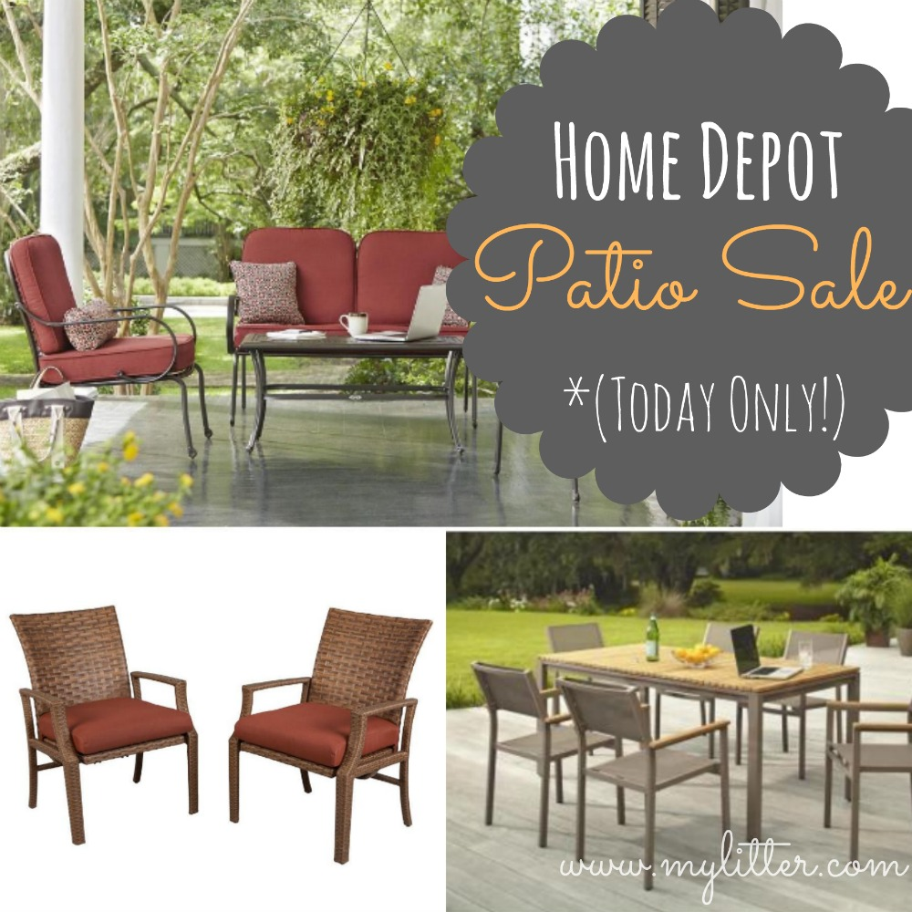 Home depot patio furniture sale 50 off sets today only for Furnisher sale