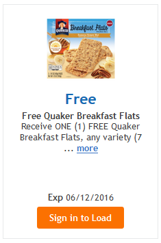 Kroger FREEBIE Friday – Load your card! {FREE Quaker Breakfast Flats}