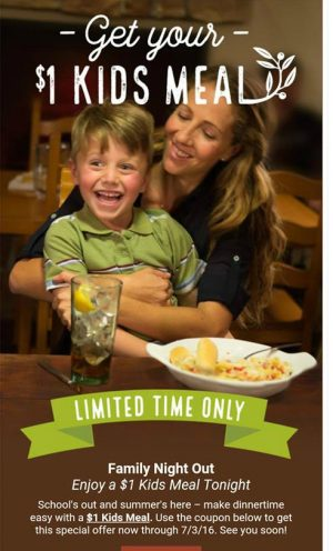 Olive Garden: Kids eat for $1 through July 3rd! - MyLitter
