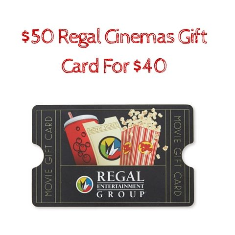 50 regal cinemas gift card for 40