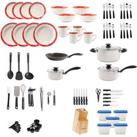 Gibson home essential total kitchen 83 piece combo set for Kitchen set combo offer