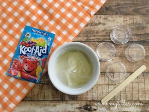 melt coconut oil or petroleum jelly for the kool-aid lip gloss diy base
