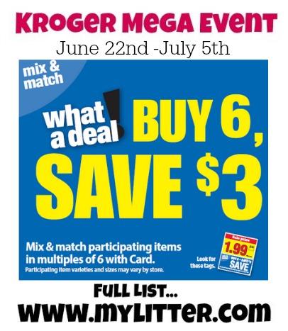 Kroger Mega Event Unadvertised List {June 22-July 5}