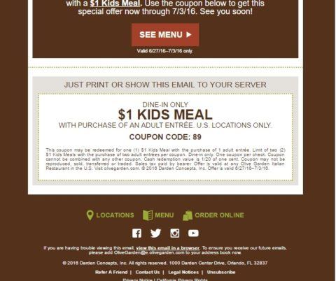 Olive Garden Kids eat for 1 through July 3rd MyLitter One