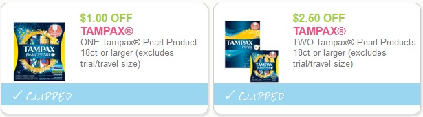 Tampax pearl coupons